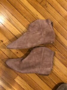 NEW joie mauve pink suede ankle flat booties boots 37 7 zip back