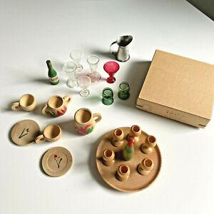 Vintage Dollhouse Cups Glass Goblets Green Wood Germany East Bar Set CIN Wine