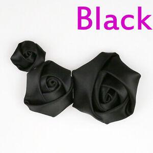 10/50Pcs Satin Ribbon Rose Flower 25/40/50mm DIY Craft Wedding Appliques Sewing