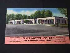 1951 ELMS MOTOR COURT WINCHESTER, VIRGINIA LINEN POSTCARD VIEW