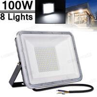8X 100W LED Flood light Cool White Arena Outdoor Garden Yard SpotLight IP67 110V