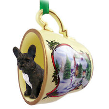 French Bulldog Christmas Teacup Ornament