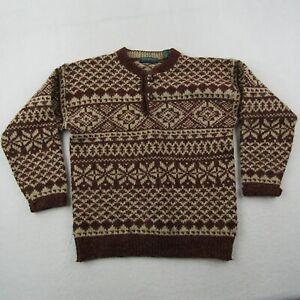 Vintage Claybrooke Sweater Adult Medium Men Outdoors Red Beige Fair Isle Henley