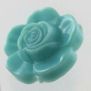 Vintage Molded Green Color Plastic Garment Button Size .75in Floral Design 744C