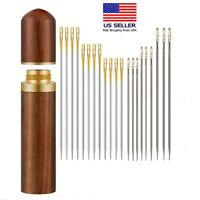 Stainless Steel Self-threading 24Pcs Needles Opening Sewing Darning Needles US