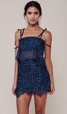 Preowned For Love & Lemons Blue Floral Sophia Skirt Festive Lace Size L $125