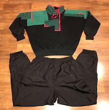 Vtg 80s Kitex Skyr COLOR BLOCK Black Sweater TRACK SUIT Jacket Coat Pants 38 XL