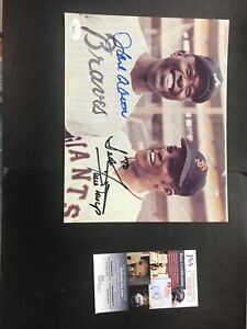 MLB BASEBALL Hank Aaron Willie Mays Signed JSA CERTIFIED AUTOGRAPH PERSONALIZED
