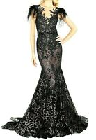 2020 Mac Duggal Feather Embellished Lace Long Maxi Dress Mermaid Gown IT 42 US 6