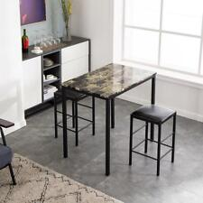 Hot Style Metal Breakfast 3 Piece Dining Table Set 2 Chair Marble Kitchen Room
