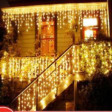 20Ft 2X Xmas 3M 100 Led Icicle Warm White Lights Urttain for Christmas Wedding