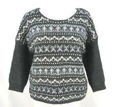 Ann Taylor Loft Sz L Womens Sweater Grey White Nordic Chunky Knit Wool Alpaca