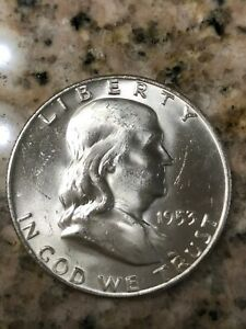 1953 D SILVER BRILLIANT UNCIRCULATED WHITE FRANKLIN HALF DOLLAR. THIS IS A GEM.