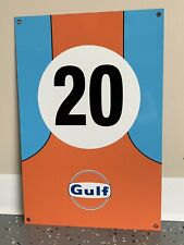 "Le Mans Gulf Porsche Racing Steve McQueen 12"" Tall Reproduction Garage Sign"