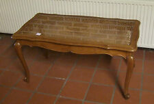Quality French Carved Oak/Glass/Canework Coffee Table - (020119)