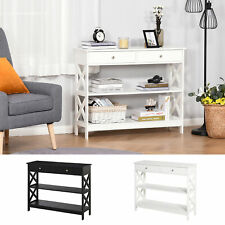 Console Table Sofa Desk w/ Shelves Drawers for Living Room Entryway Bedroom