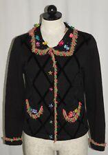 Jack B Quick Petite SZ PM Black Floral Beaded Fringe L/S Cardigan Sweater