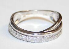 Impressive 9ct White Gold Diamond Cross Over Band Ring Size K 1/2
