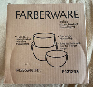 Farberware 3 Piece Mixing Bowl Stainless Steel Set 1,2, 3 qt Durable Handles New