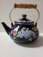 VG Gailstyn-Sutton Jardine Collection Porcelain Enamel Tea Pot Kettle Blue 1985