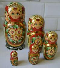 "VINTAGE WOOD RUSSIAN MATRYOSHKA STACKING NESTING DOLLS SET OF 5 HAND PAINTED 7"""