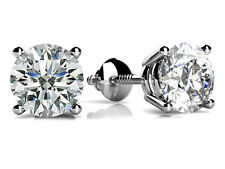 1.50Ct Solitaire Round Cut Diamond Screw Back Stud Earrings 14K White Gold