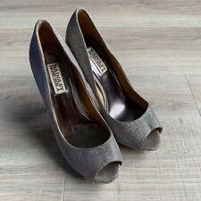 Badgley Mischka Metallic Glitter Peep Toe Stiletto Pumps Sz 7 M Bridal Shoes