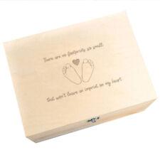 """""""There Are No Footprints So Small"""" Baby Loss Memorial Keepsake Memory Box"""