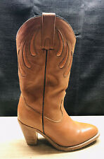 Vintage Frye Western Cognac Leather & Suede Cowboy Boots 7075 Size 6B USA!