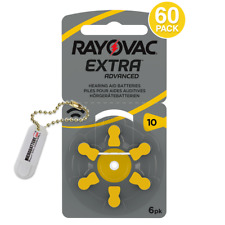 Rayovac Size 10 EURO Hearing Aid Batteries + Holder/2 Extra Batteries (60 Pack)