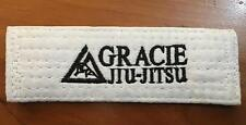 "Gracie Barra Jiu-Jitsu White Embroidered Gi Kimono Belt Bag Patch 5.5"" x 2"""