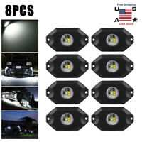 8Pcs White Rock Lights LED Dome light Off-Road Under Wheel Car Lamps For Car SUV
