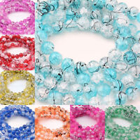 Lots 50/100Pcs Czech Glass Charms Round Crackle Spacer Beads Jewelry Making 6mm