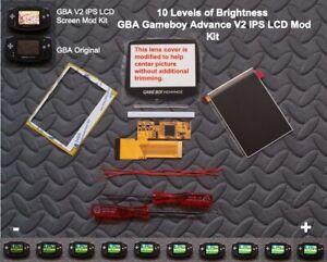 10 Level Brightness GBA V2 IPS LCD Mod Kit Backlight Game Boy Advance USA!
