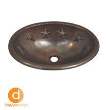 "Hand Hammered Copper Oval  Vessel Sink  Star Design 19""x14"""