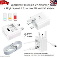 UK Adaptive Fast Charger Adaptor + 1.5M USB Cable for Samsung Note 5 S6 S7 Edge