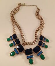 Cluster Statement Necklace Blue Teal Green Turquoise Goldtone Chain High End