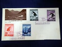 Austria 1926 FDC Cover Innsbruck Set of 4 Skiing Stamps Osterreich Envelope