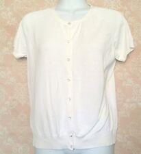 Liz Claiborne Womens Cardigan Medium Ivory Cap Sleeve Crystal Button Sweater