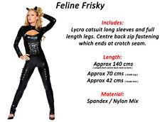Black Lycra Catsuit Feline Cat Halloween Superhero Fancy Dress Outfit Size 14-16