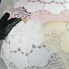 vory/White/Pink/Black Handmade Cotton Lace Parasol Umbrella Bride Wedding F5