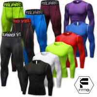 Mens Compression Under Shirt Tops Sports Pants Gym Clothes Tights Athletic WearG