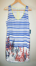 NEW Womens CHARLIE JADE Printed Multi Color Sleeveless Shift Dress Small S