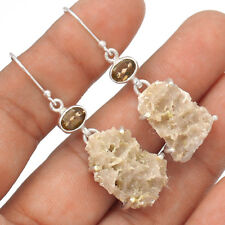 Smokey Quartz Druzy & Smokey Topaz  925 Silver Earrings Jewelry EE71152