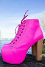 NWB Rare *JEFFREY CAMPBELL* Leather NEON PINK Platform LITA BOOTS Booties 7