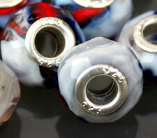 4 Red White & Blue Faceted Quartz Crystal Beads for Charm Bracelet Reiki Blessed