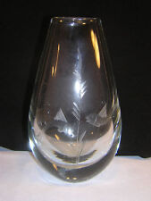 "Orrefors 7 1/2"" crystal Vase ~ Siamese Fighting Fish"