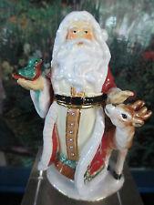Santa With Deer ~ Bejeweled Enamel Trinket Box #3610