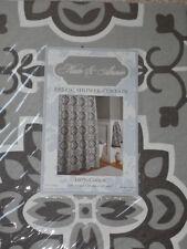 Light Dark Gray Grey White DAMASK Geometric Print Shower Curtain NEW Medallion