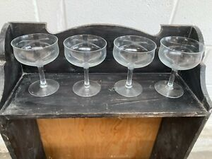 Vintage Clear Glass Champagne Cocktail Glasses x 4